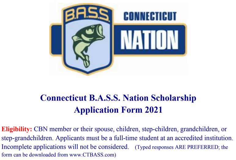 Connecticut B.A.S.S. Nation Scholarship App 2021